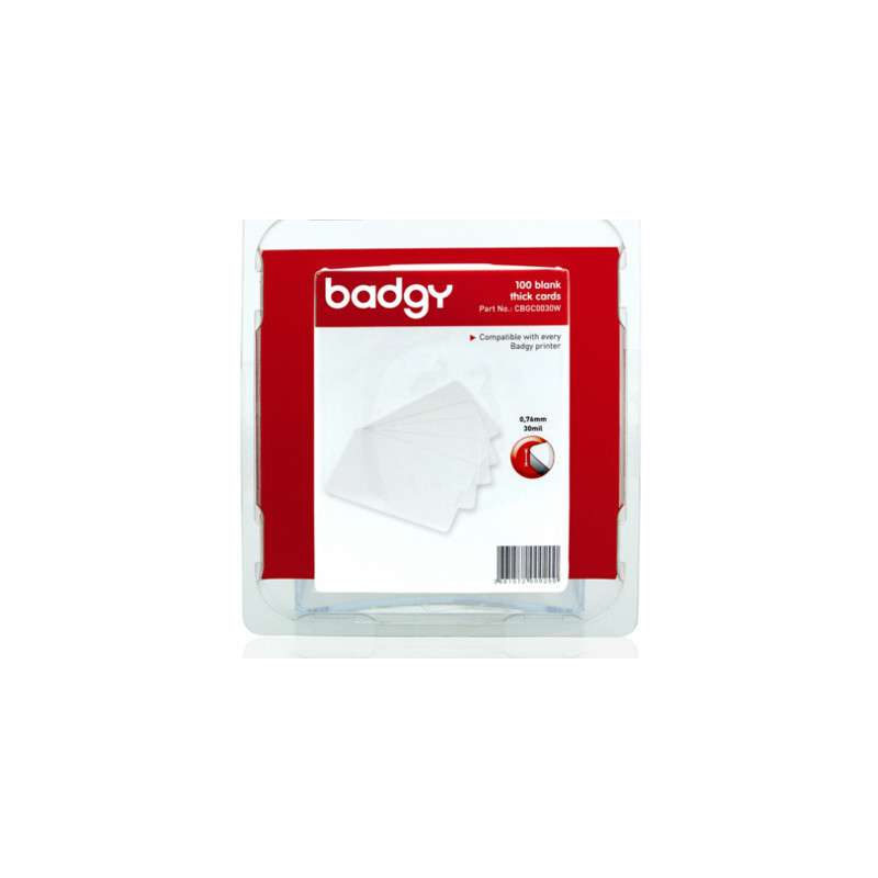 Pack 100 cartes PVC 0.76 mm Evolis Badgy100, badgy 200