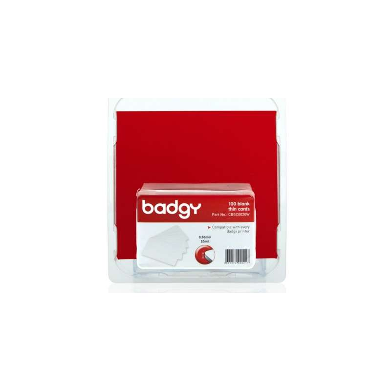 Pack 100 cartes PVC 0.50 mm Evolis Badgy100, badgy 200