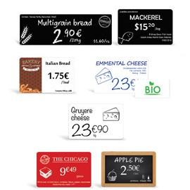 Étiquettes de prix et buffets