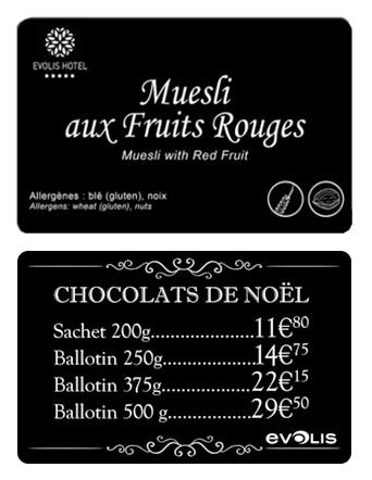 Étiquettes de buffet